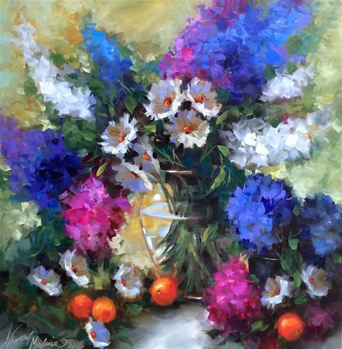 """Daisy Hearts and Delphs - Flower Paintings by Nancy Medina"" original fine art by Nancy Medina"