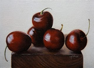 """Cherries"" original fine art by Jonathan Aller"