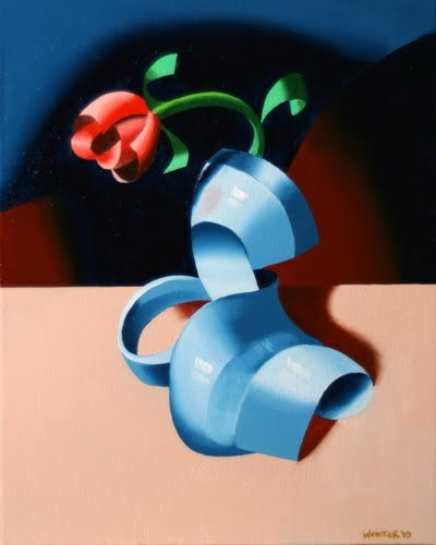"""Mark Webster - Futurist Roses in Vase #2 - Abstract Geometric Oil Painting"" original fine art by Mark Webster"