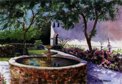 """Watercolor Study: San Luis Obispo Fountain"" original fine art by Belinda Del Pesco"