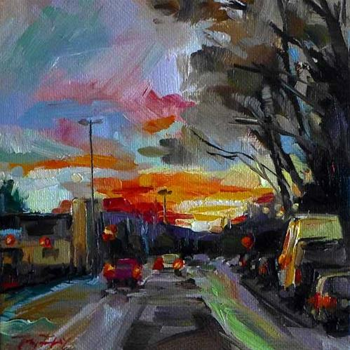 """Der Sonnenuntergang"" original fine art by Jurij Frey"