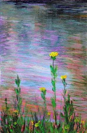 """3125 - Water Flowers - OSWOA DUO Series"" original fine art by Sea Dean"