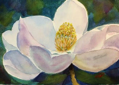 """Day 3 - Study in White - Magnolia"" original fine art by Lyn Gill"