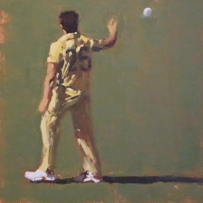 """BOWLER - Cricket at the MCG"" original fine art by Helen Cooper"