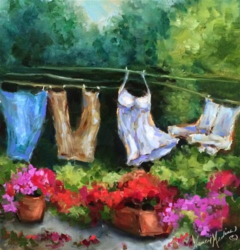 """French Laundry or Giving a Shirt the Slip - Paintings by Nancy Medina"" original fine art by Nancy Medina"