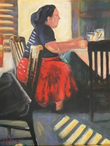 """RED SKIRT, 16X20, OIL, SOLD"" original fine art by Carol Schiff"