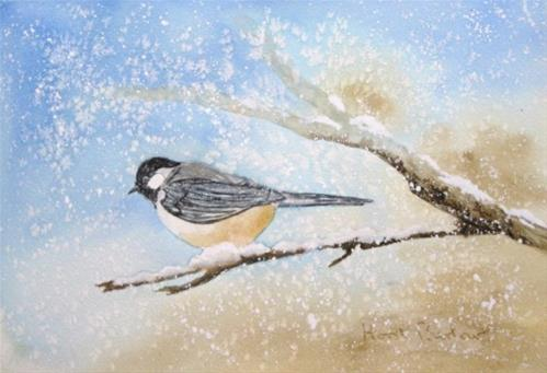 """Chickadee"" original fine art by Horst Berlow"