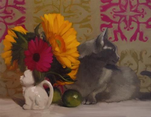 """Two Cats feline floral still life by Hoeptner"" original fine art by Diane Hoeptner"