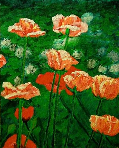 """Pink Poppies"" original fine art by Maria Levandowski"