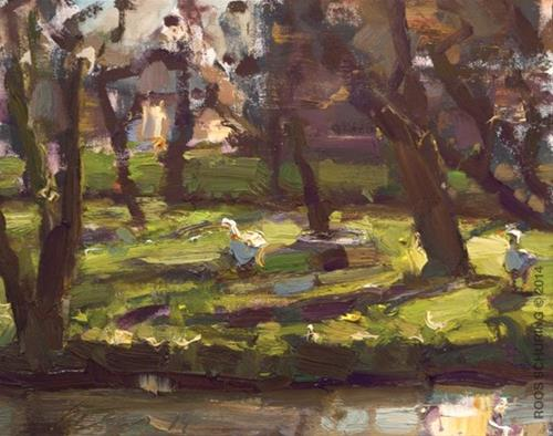"""Apple Tree Orchard and geese"" original fine art by Roos Schuring"