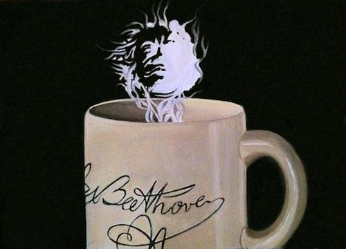 """My Beethoven Mug"" original fine art by Patti Adams"