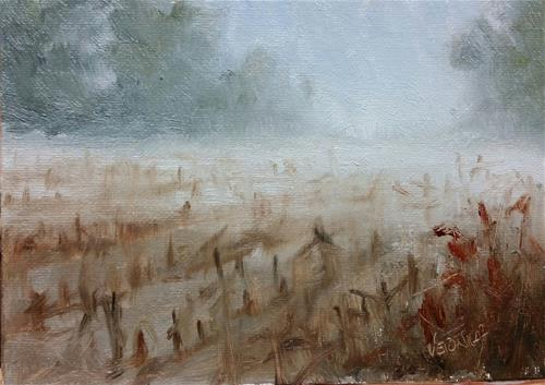 """Corn field fog-study"" original fine art by Veronica Brown"