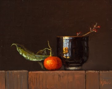 """Still Life with Clementine, Bowl, & Mistletoe  (+ Special Event: Live Painting Demo - Feb. 28)"" original fine art by Abbey Ryan"