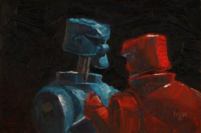 """""""Boxing Bots"""" original fine art by Raymond Logan"""