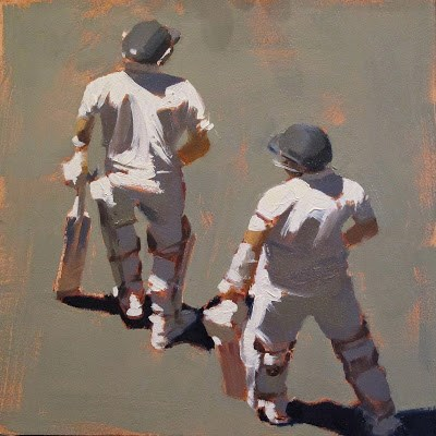 """NEXT SESSION - Cricket at the MCG"" original fine art by Helen Cooper"