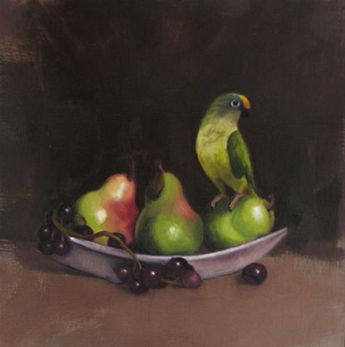 """Bird and Pears, reworking a painting, before and after"" original fine art by Diane Hoeptner"
