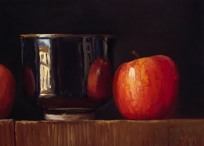 """Still Life with Apples and Tea Bowl"" original fine art by Abbey Ryan"