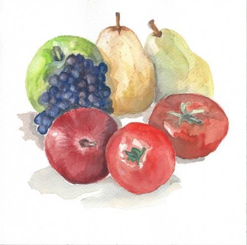"""Fruit & Tomato"" original fine art by Laura Denning"