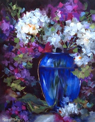 """Blue Glass Lilies and Hydrangeas by Texas Flower Artist Nancy Medina"" original fine art by Nancy Medina"