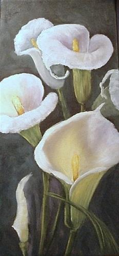 """Calla Lilies in White on Gallery Wrap Canvas"" original fine art by Barbara Haviland"