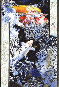 """""""Koi & Waterfall"""" original fine art by Mariko Irie"""