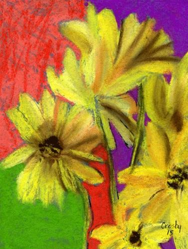 """Sunflower Triad"" original fine art by Donna Crosby"
