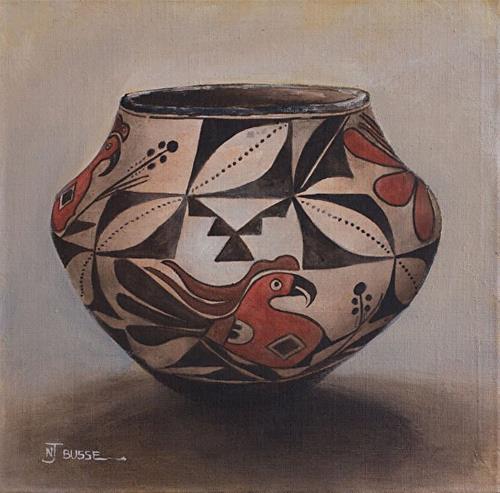 """Anasazi Pots, Still Life Art Painting SEMINOLE POLYCHROME JAR by Colorado Artist Nancee Jean Busse"" original fine art by Nancee Busse"
