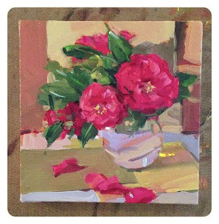 """Sketch for 'Bountiful Camellias'"" original fine art by Sarah Sedwick"