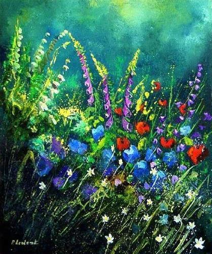 """Garden flowers 56"" original fine art by Pol Ledent"
