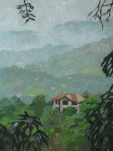 """Foggy mountain view 6x8 oil"" original fine art by Claudia Hammer"