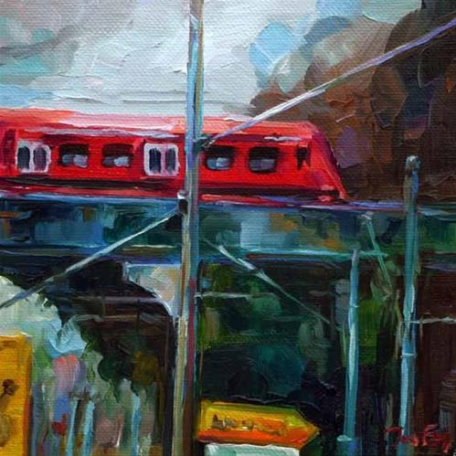 """""""die Brücke, Stuttgart"""" original fine art by Jurij Frey"""