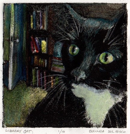 """Silk Aquatint with Colored Pencil: Library Cat"" original fine art by Belinda Del Pesco"