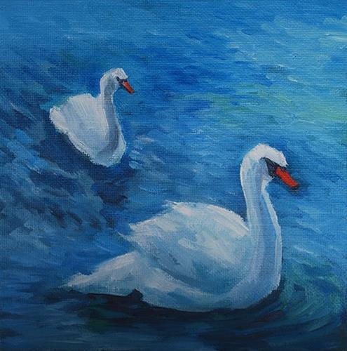 """Two Swans"" original fine art by J M Needham"