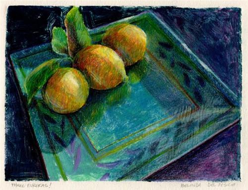 """Monoprint: Three Eurekas!"" original fine art by Belinda Del Pesco"