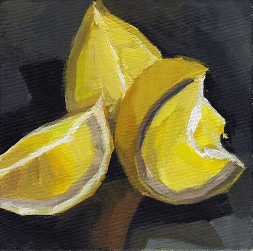 """Lemon Wedges"" original fine art by J M Needham"