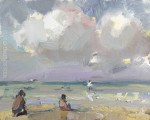 """Beach Painting Bright Clouds Shallow Waters"" original fine art by Roos Schuring"