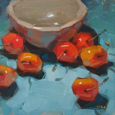 """Cherryguards"" original fine art by Carol Marine"