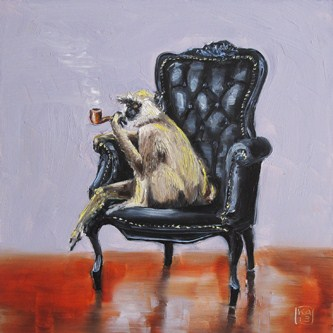 """this monkey is not smoking a pipe"" original fine art by Kimberly Applegate"