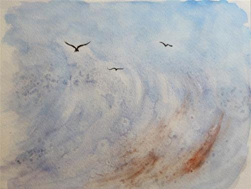 """Seagull in Wave   SALE"" original fine art by Mary Datum"
