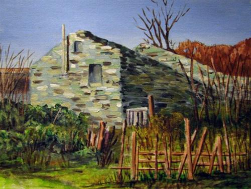 """Stone House"" original fine art by Nan Johnson"