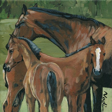 """""""Mare and Fillies"""" original fine art by Nadi Spencer"""