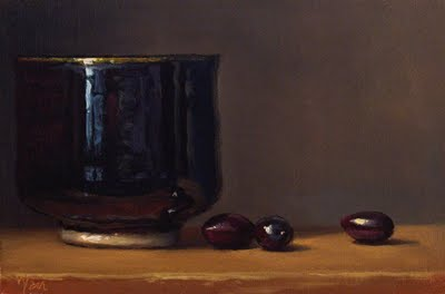 """Still Life with Tea Bowl and Olives"" original fine art by Abbey Ryan"