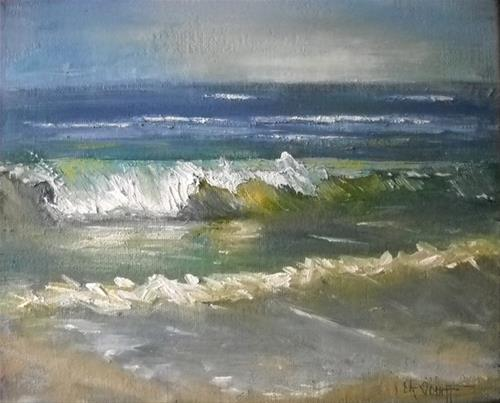 """Seascape Painting, Small Oil Painting, The Green Sea by Carol Schiff, 8x10x1.5"" original fine art by Carol Schiff"
