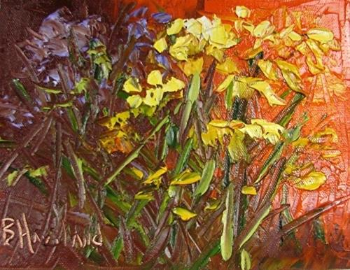 """Yellow and Purple Flowers Knife oil Painting"" original fine art by Barbara Haviland"