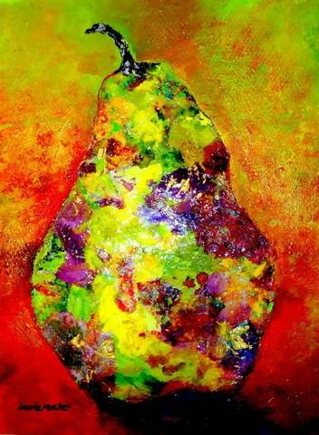 """Pear in Bloom"" original fine art by Laurie Mueller"