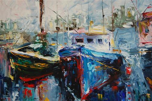 """Boats at Dawn"" original fine art by Deborah Harold"