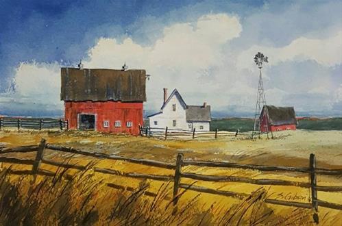 """""""Janette Watters Farm"""" original fine art by Steve Gibson"""