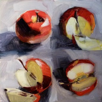 """Oil study of Cortland Apple"" original fine art by Deb Anderson"