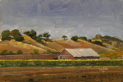 """Barn out on Lopez Drive"" original fine art by Raymond Logan"