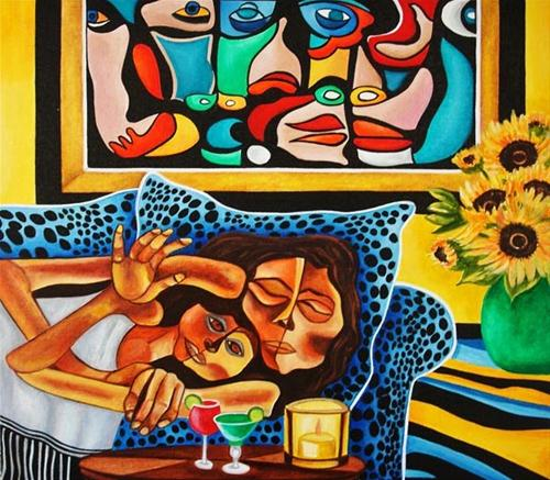 Sweet Dreams, Inspired by Guayasamin, by k Madison Moore original fine art by K. Madison Moore